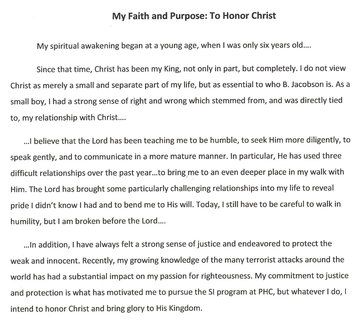 college essay about faith