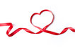 Red heart ribbon, isolated on white