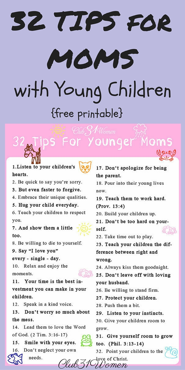 32 Tips I'd Like to Pass Along to Younger Moms via @Club31Women
