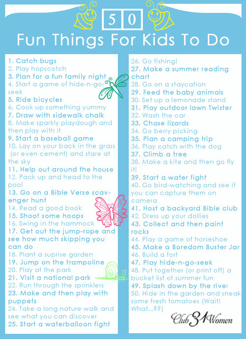 free printable 50 fun things for kids to do club 31 women