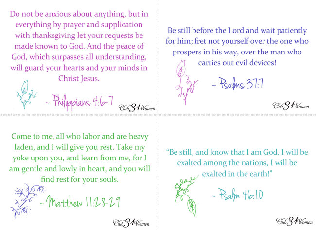 Scripture Cards for Rest and Refreshment Part 1