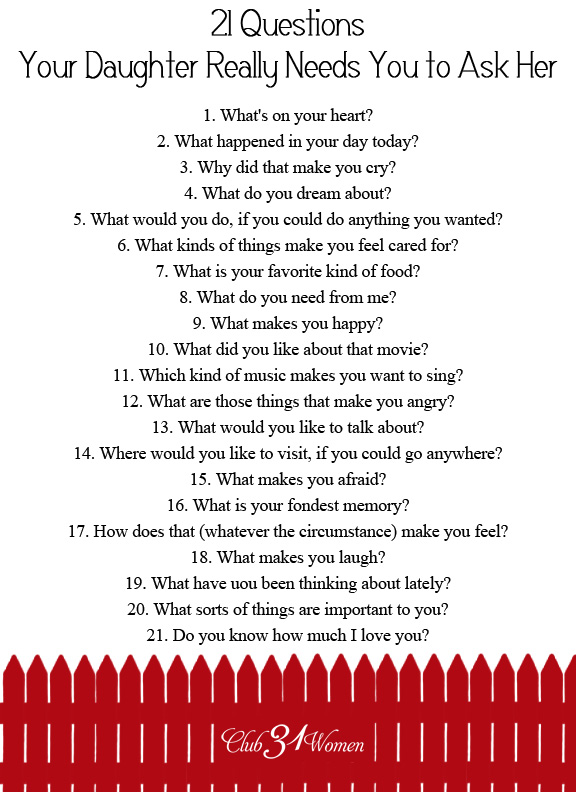 Good 21 questions to ask a girl