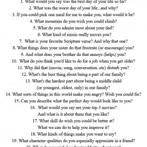 questions to ask a girl dating your son 70 funny questions you can ask a girl to make the  if you don't want to embarrass yourself on a first date,  (don't ask this question unless you have a.