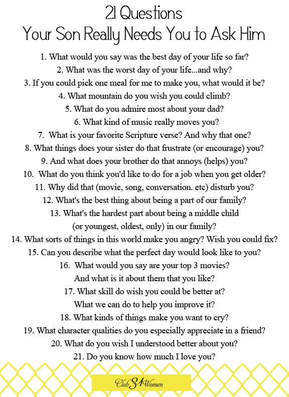 World's Best 21 Questions to Ask a Guy (2016) « DATING
