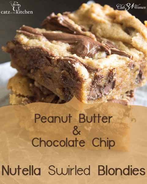 Yum! Peanutbutter and Chocolate Chip Nutella Swirled Blondies