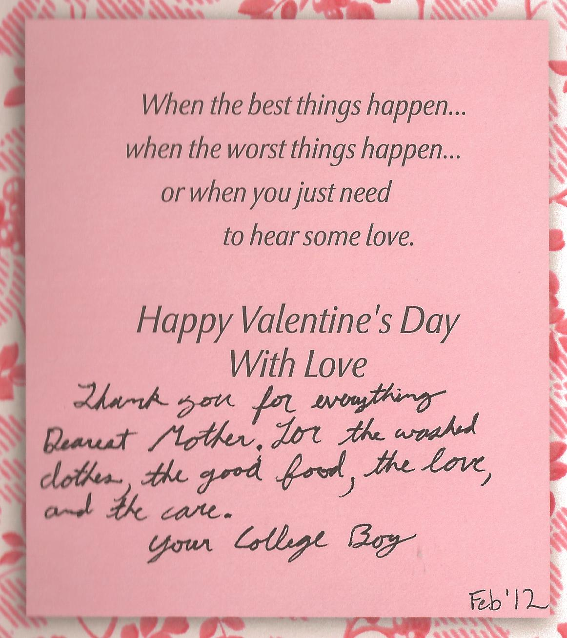 College Boy's Valentine