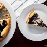 Beautiful Blueberry Swirl Cheesecake