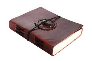 Handmade Leather Journal Bound Notebook with Gemstone