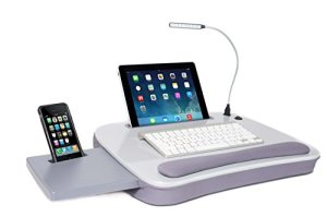 Sofia + Sam Multi Tasking Memory Foam Lap Desk with USB Light (Silver)