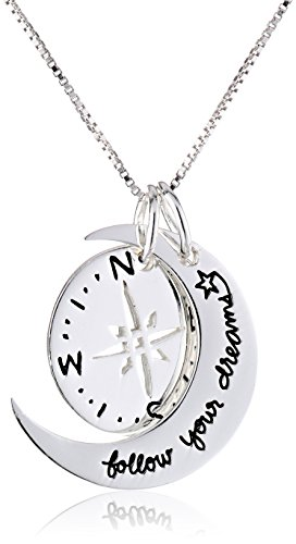 Sterling Silver Two-Piece Compass Follow Your Dreams Pendant Necklace