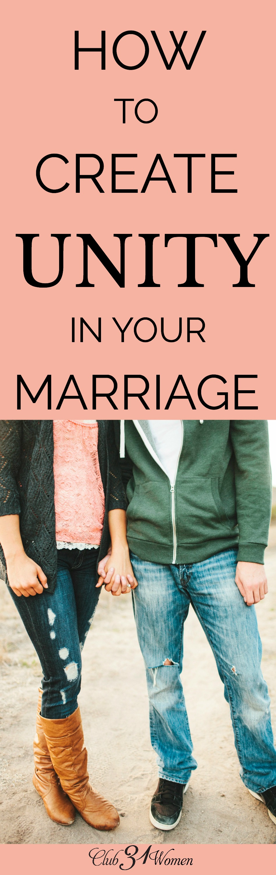 How does a married couple live in unity? How do two people begin to think and act as one? Here are 4 ways a married couple can stand together as one! via @Club31Women