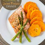 One Pan Salmon, Asparagus, and Sweet Potato Dinner
