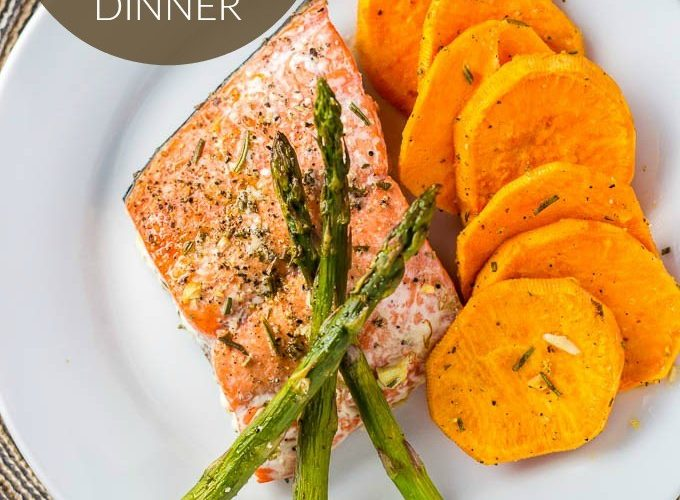One Pan Salmon, Asparagus, and Sweet Potato Dinner