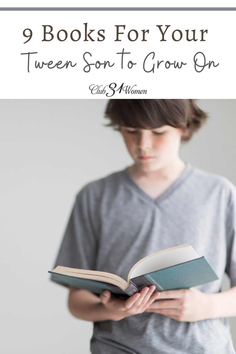 It can be so challenging to find excellent reading material for your tween boy. But here is a fabulous list of extraordinary books to get you started! via @Club31Women