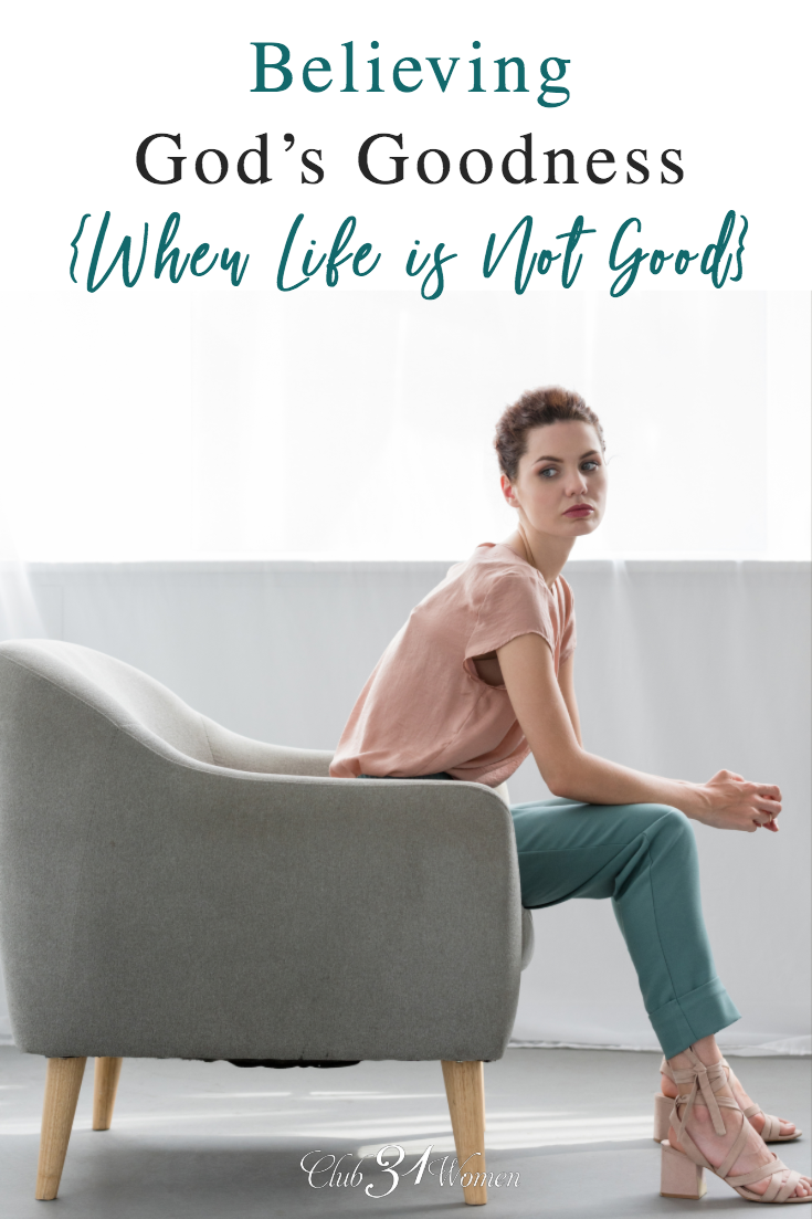 Do you believe God's goodness for your life? Even when--especially when--things are not going well in your life? How can we walk through God's plan for us? via @Club31Women