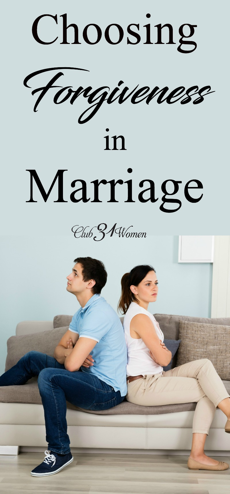 Sometimes we want to hold on to being right, not really thinking about the cost. But forgiveness in marriage offers a freedom pride never could. via @Club31Women