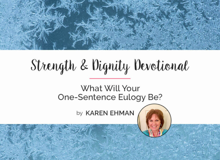 What Will Your One-Sentence Eulogy Be?