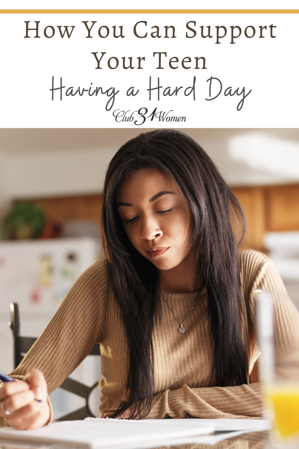 When your teen is stressing or having a hard day, how can you help them? Offer solutions? Give them space? via @Club31Women